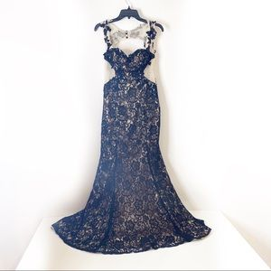 DEB Black Lace Mermaid Formal Prom Dress 7/8